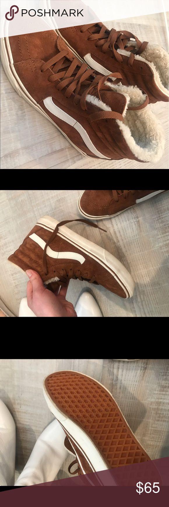 vans with fur. tan fuzzy sk8-hi shoes, unworn never worn, dark tan/ brown high vans with fur