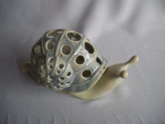 Ceramic Snail Luminary/Tea Light by SKCeramics on Etsy, $12.50