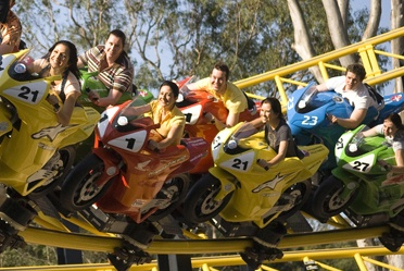 Experience the rush of motorcycle racing with Mick Doohan's MotoCoaster at Dreamworld. The only MotoCoaster in the world featuring life-size replicas of 500cc racing bikes.