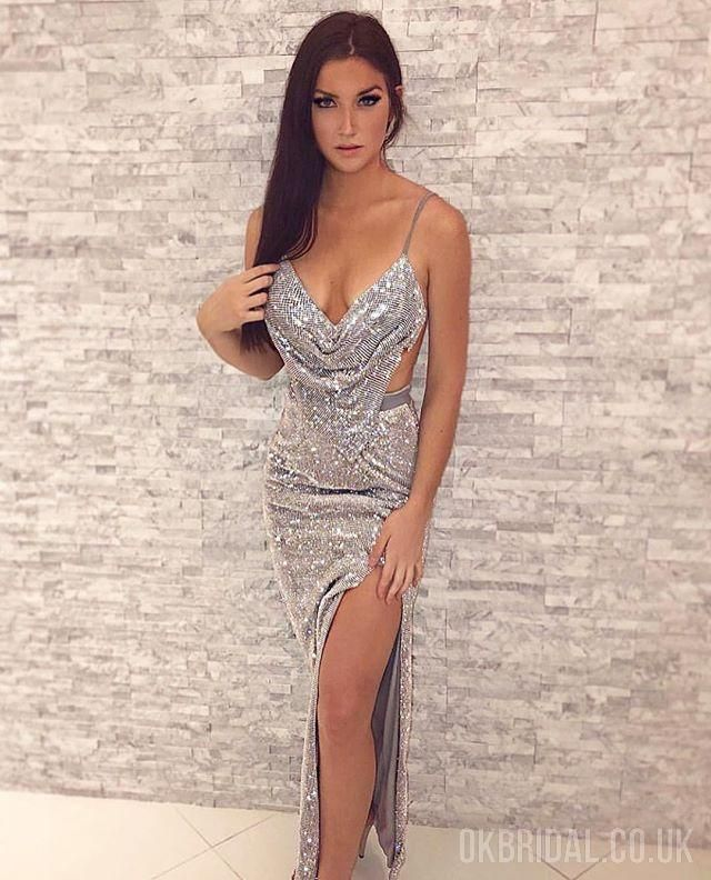 d7fbf215 Sparkly Mermaid Sexy Backless Slit Sequin Prom Dresses, FC2211 The dress is  fully lined,