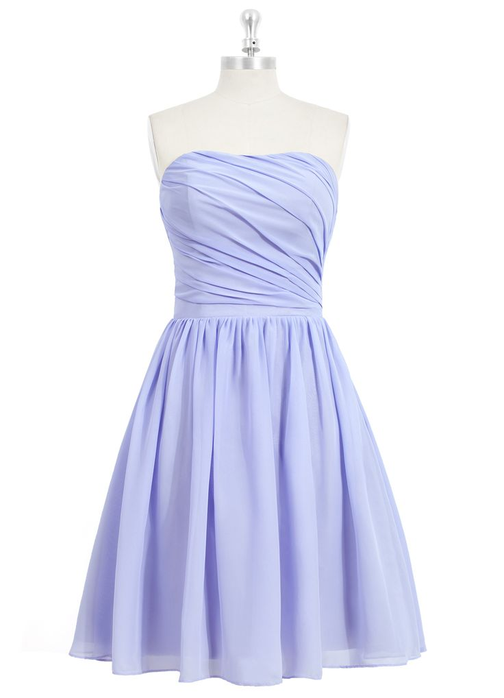 The Azazie Katie is the quintessentially charming bridesmaid dress. It features a sleeveless design, diagonal ruched detailing on the bodice, a high waistline, and a flared knee-length A-line skirt. Constructed feminine chiffon, this bridesmaid dress is great for any wedding. Available in 30+ colors, seen here in Lavender.