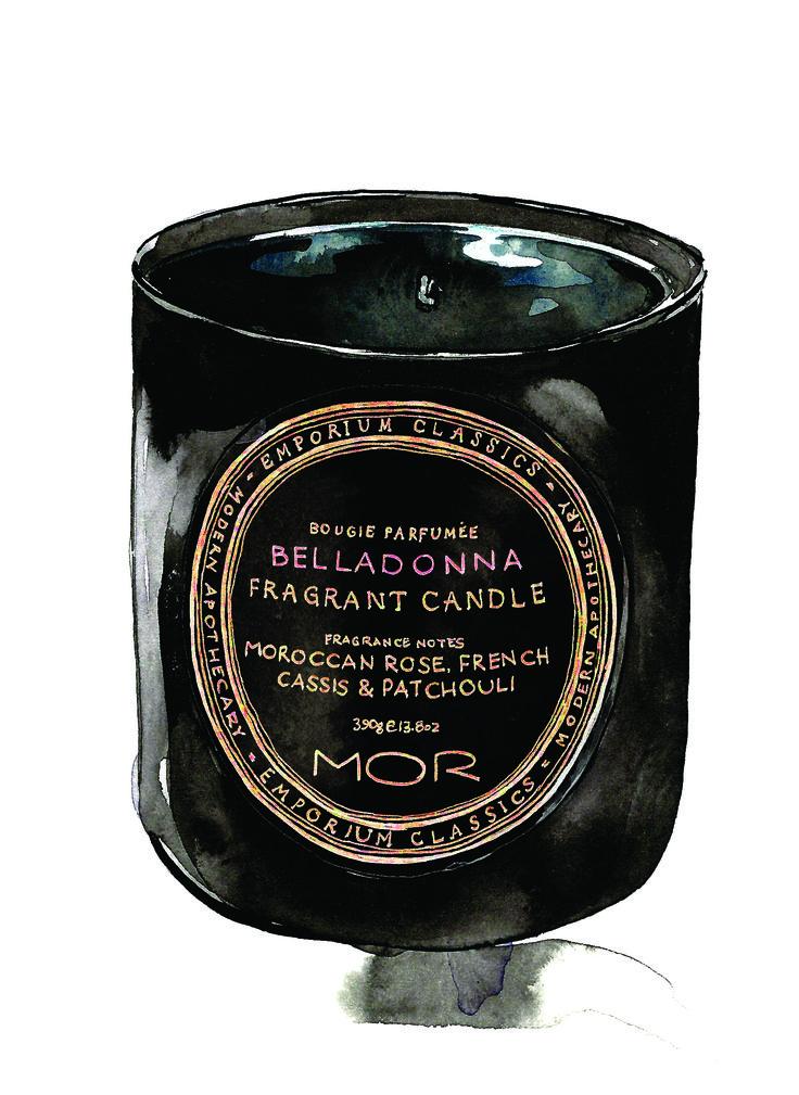 Candle of the week – MOR Emporium Classics Belladonna illustration by Sarah Larnach