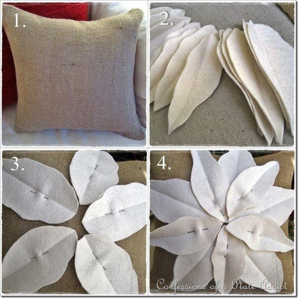 Pottery Barn inspired poinsettia pillow!