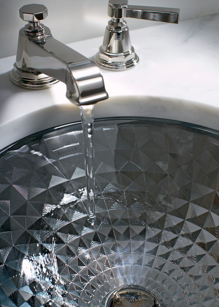 Kallos Sink Pinstripe Pure Faucet With Reflective Facets Of Cut Glass Kallos Shines Like A Jewel In The Bath Or Powder Room Part Of The Artist Editions