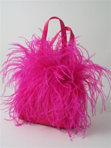 Pink fuchsia ostrich feather bag handbag purse by daphnenen, $75.00