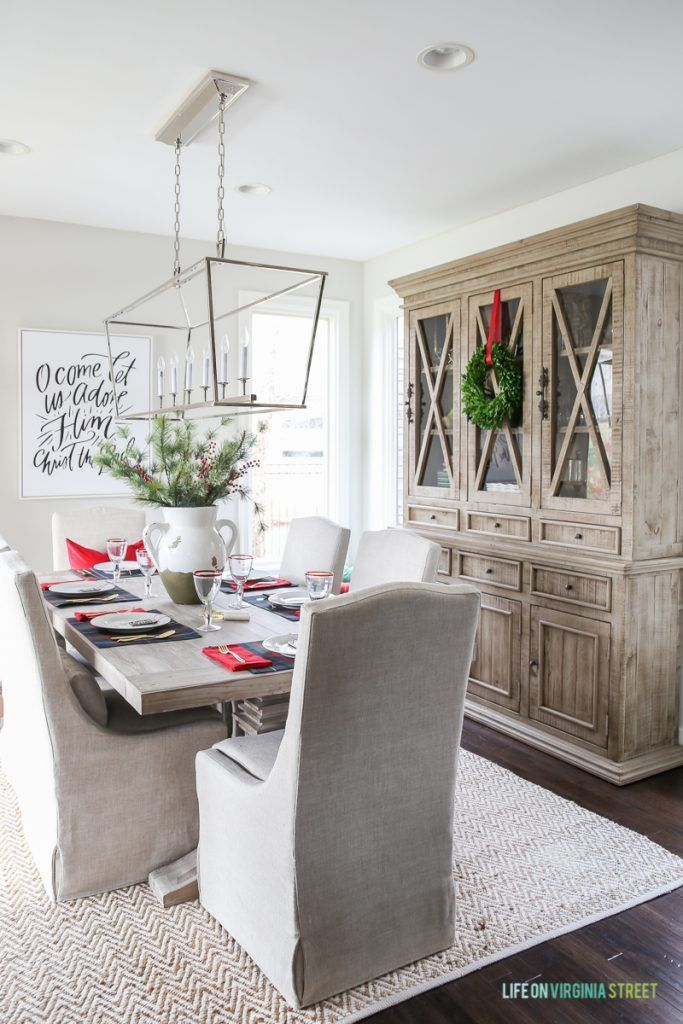 Plaid Christmas Tablescape in a neutral dining room with driftwood like finishes. Love the Darlana Linear Pendant and the Behr Silver Drop Walls!