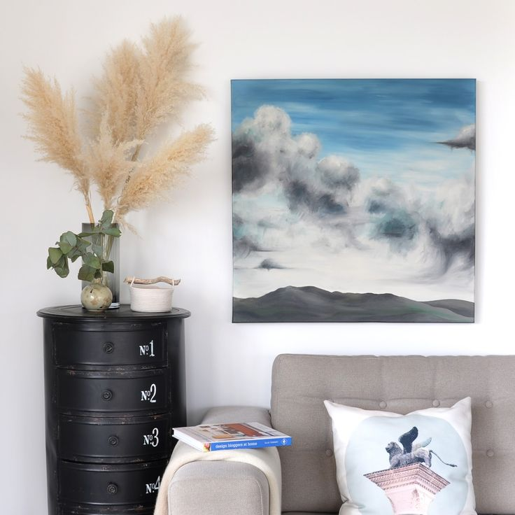 The Penny Drops - original art, large square painting on canvas, broody clouds over rolling barren hills.