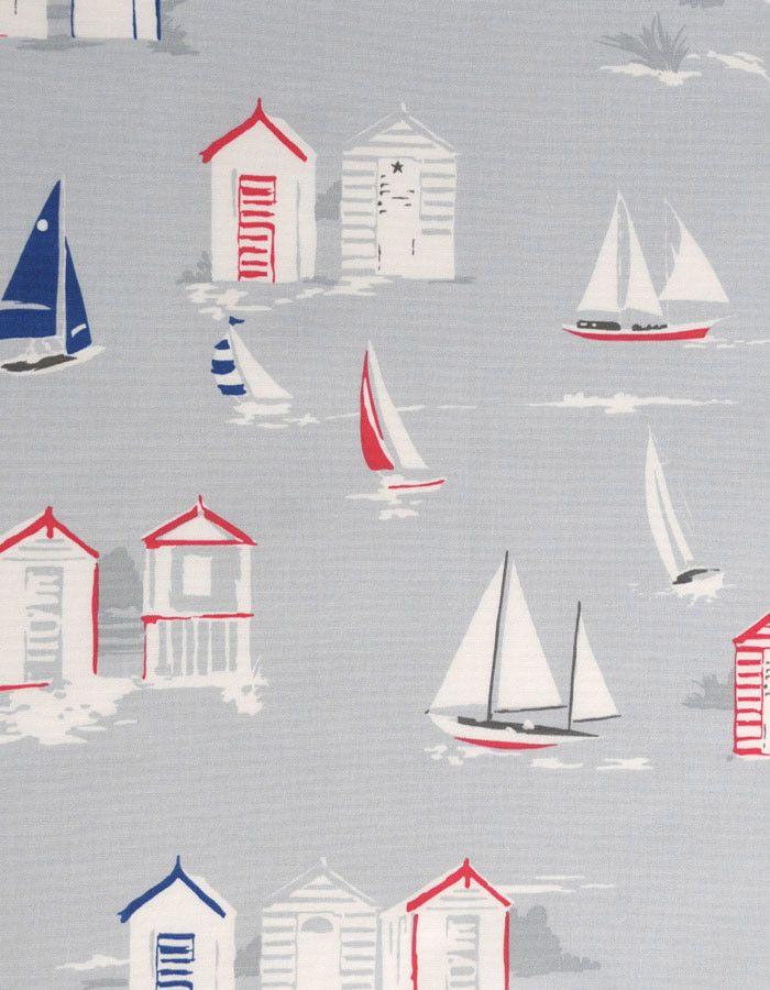 z. SAMPLE Oilcloth Fabric Beach Huts Grey