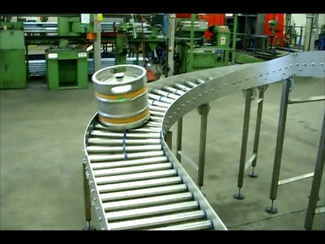 Brewery Conveyor Handling Kegs Of Beer For A Local