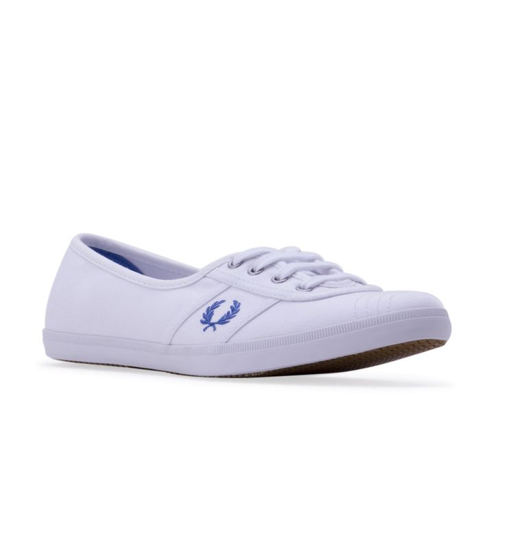 Women's FRED PERRY Aubrey Twill Sneaker - White - A preppy, vintage-style tennis shoe detailed with signature laurel embroidery gets a fresh, summery update with canvas twill construction.