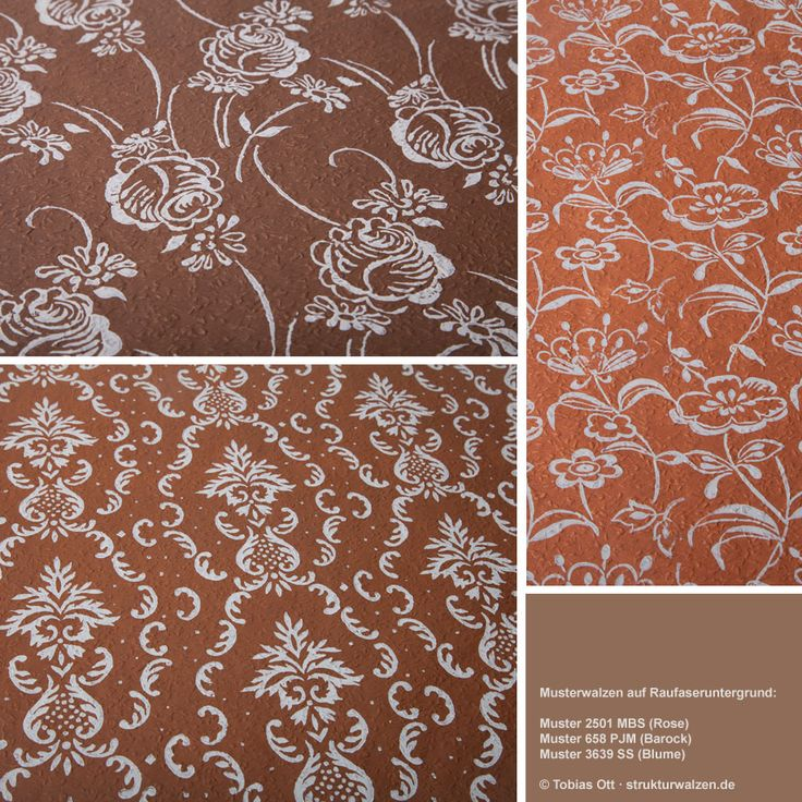 Muster mit Malerwalzen / Musterwalzen auf Raufasertapete in Braun / Brauntönen ... Pattern painted on ingrain wallpaper in Brown Color variations