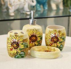 Online Shop Sunflower Bathroom set Handmade Drawing Four Pieces Ceramic Bathroom Set For Home Decor|Aliexpress Mobile