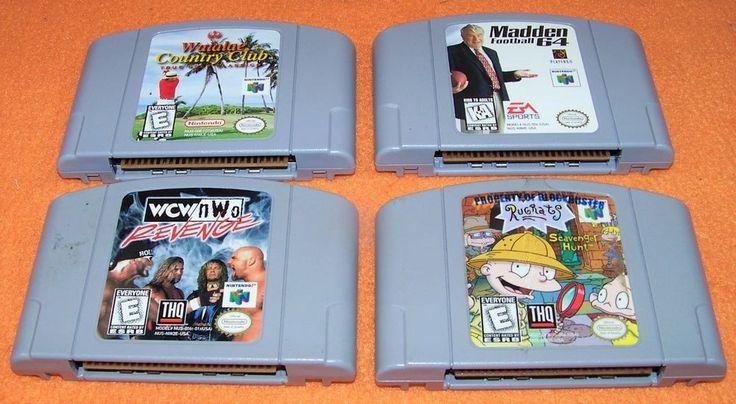NINTENDO 64 4 GAME CARTRIDGES N64 WCW NWO REVENGE RUGRATS MADDEN FOOTBALL GOLF