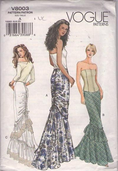 MOMSPatterns Vintage Sewing Patterns - Vogue 8003 Retro 2004 Sewing Pattern JAW DROPPING Gorgeous Mermaid Fishtail Wiggle Formal Long Skirt Set, Ruched Bustle Back, Ruffle Flounce MUST SEE Size 6-10