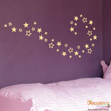 Set of 40 Stars - Turn any room into a stunning work of art with this easy to install stars wall decal. Arrange them any way you like to create a unique wall decor. www.decaleco.com #large_wall_decals #star_decal #star_decals #shapes_wall_decals #modern_home_decor_ideas