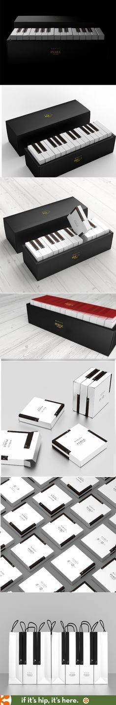 "Latona Marketing designed this ""Piano Package"" containing baked goods from Japan's Perle cakes."