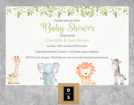 This popular watercolour baby animal themed invitation is perfect for a neutral themed shower. All baby shower invitations offered by digital society can include up to two (2) names in the honouring section. For example, mum to be, mum and father to be, mum and mum to be, father and father to be, etc  Either print yourself or send as a digital invitation  Dates and spelling (such as honour/honor) will be adjusted to USA standard when requested. ----Order Options----  Invitation (AUS$6.00...