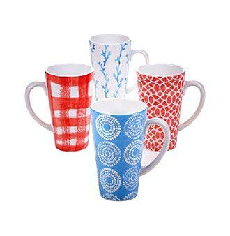 Certified International by Lisa Audit Beach House Kitchen Set of 4 Latte Mugs