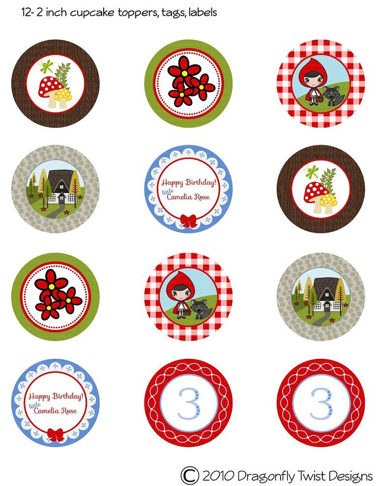 "Little Red Riding Hood DIY Collection- 2"" Cupcake Toppers, Labels Tags. $4.50, via Etsy."
