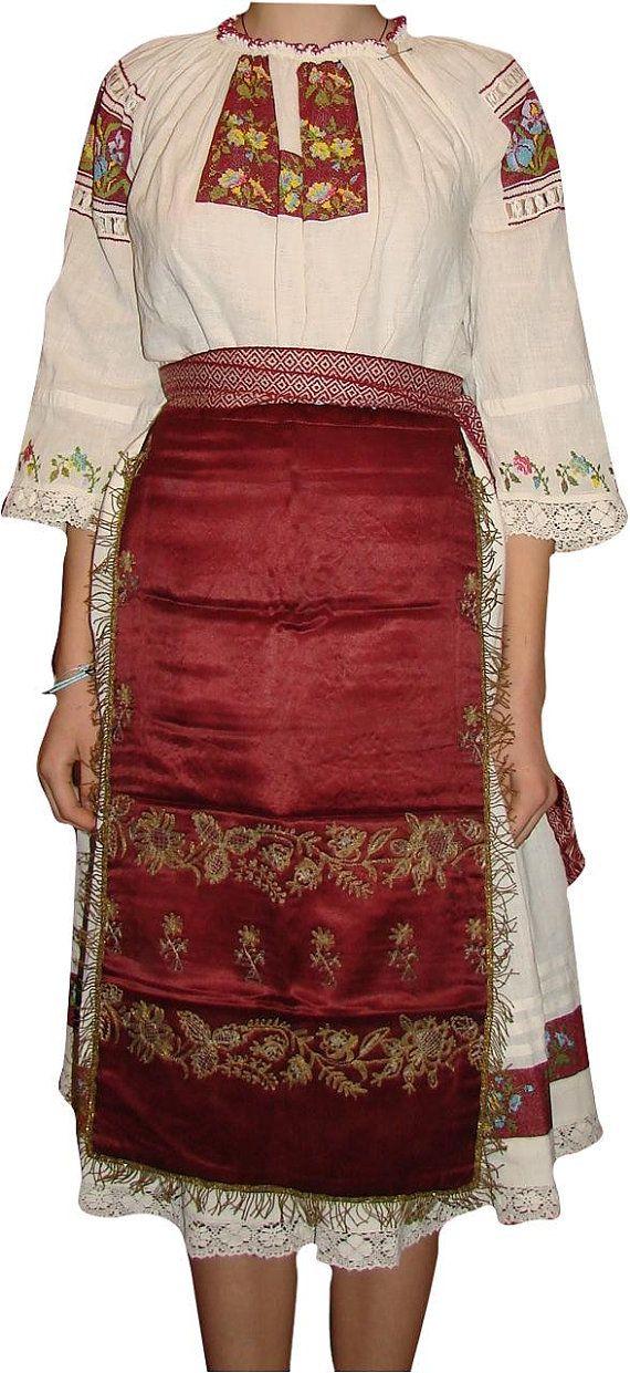Transylvania  Romanian costume folk blouse ethnic hand by Kraftangel, $500.00