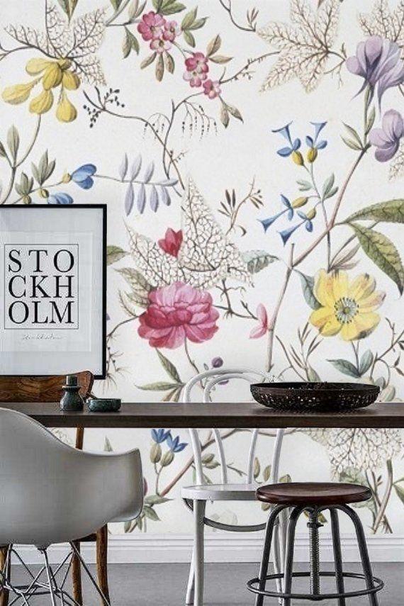 Vintage Floral Wallpaper Mural Peel Stick Wall Paper Etsy Floral Wallpaper Bedroom Floral Wallpaper Vintage Floral Wallpapers