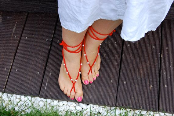 Red Beach Wedding Sandal with pearls Crochet by STAYwithANA