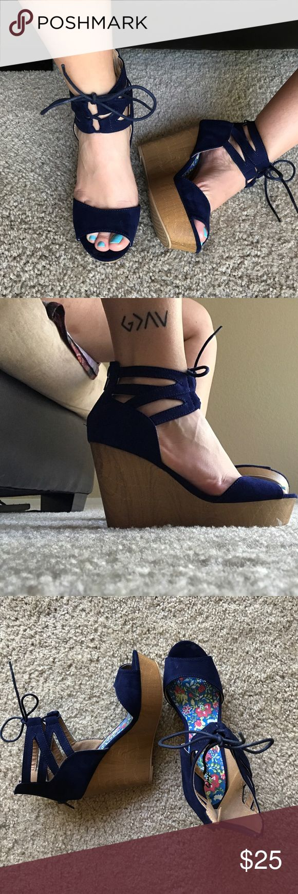 NWOT navy blue wedges Navy blue wedges. NWOT! From Lulus! Perfect for a summer wedding   Lulu's Shoes Wedges
