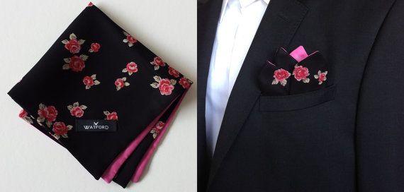 Floral Pocket Square, Pocket Square, Double-sided Pocket Square, Georgette Pocket Square, Mens Handkerchief, Pocket Hankie