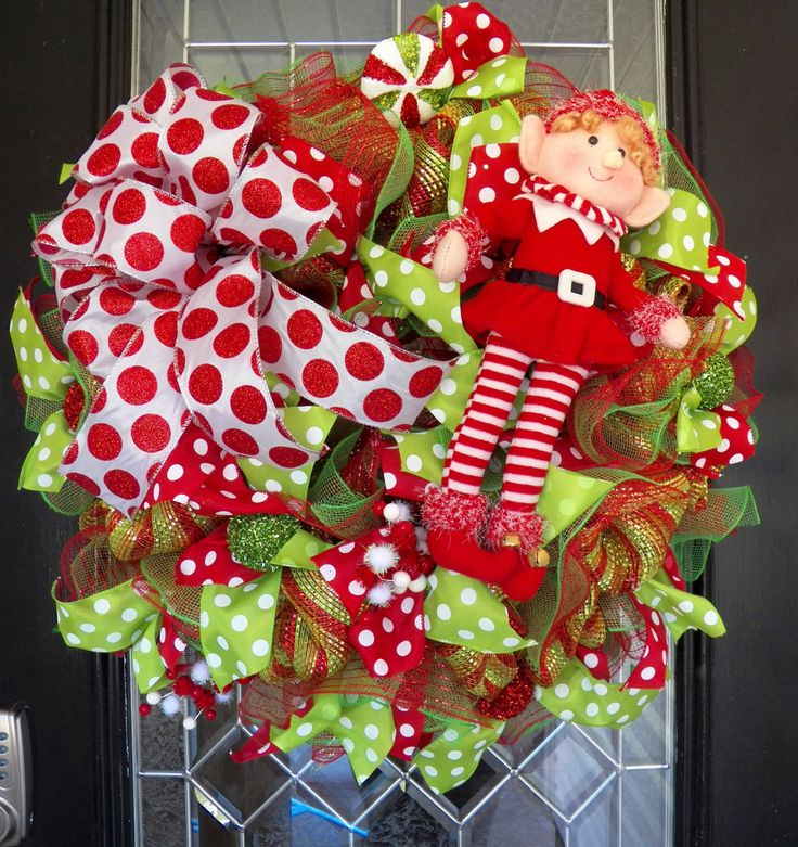 Christmas Wreath, Deco Mesh Wreaths, Elf Wreath, Christmas decoration, Holiday wreaths, Front door wreath, door hanger, Ready to Ship by OccasionsBoutique on Etsy