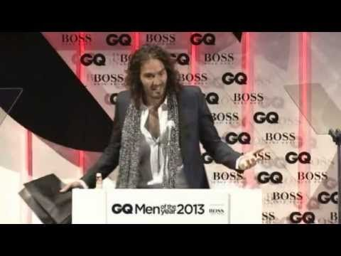 HONEST! Russell Brand kicked out of GQ Awards for embarrassing Hugo Boss. - YouTube