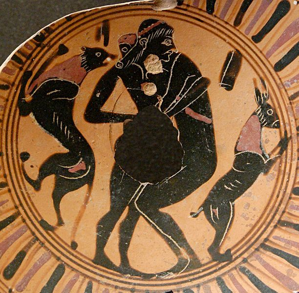 (Anonymous) (BCE), Musée de Louvre, Paris F 85 (550-525 BCE). Fragment of a black-figure kylix. Intercrural sex between an eromenos (left, youth with long hair, upright) and his erastes (right, with short hair) bends down and embraces him. The section with their genitalia is missing.