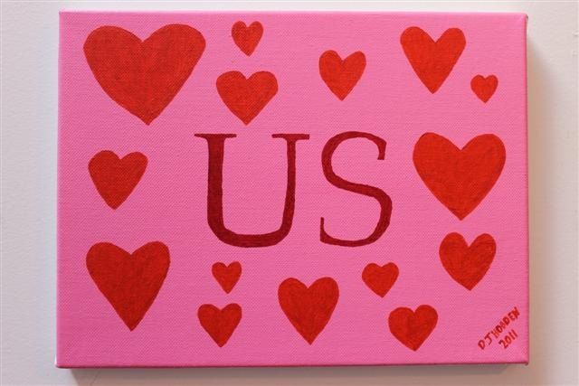 I made this painting with a positive message in it and using nice and comfy colours - it is called Love Is All Around Us