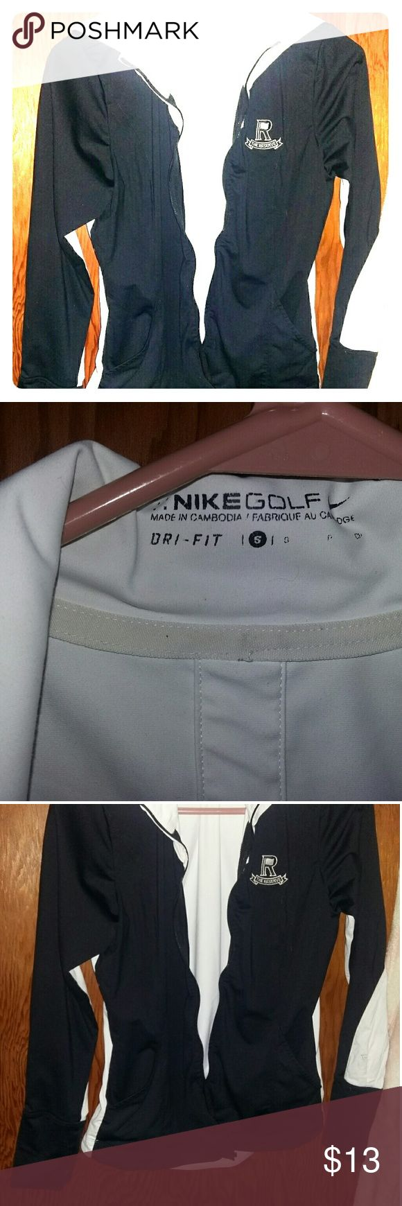 "Nike ""dri-fit"" Golf jacket Sleek black/white design. Zip needs fixed, but great condition other than that. Adorable, stylish, and made of material for comfort while exercising. Nike Golf Jackets & Coats"