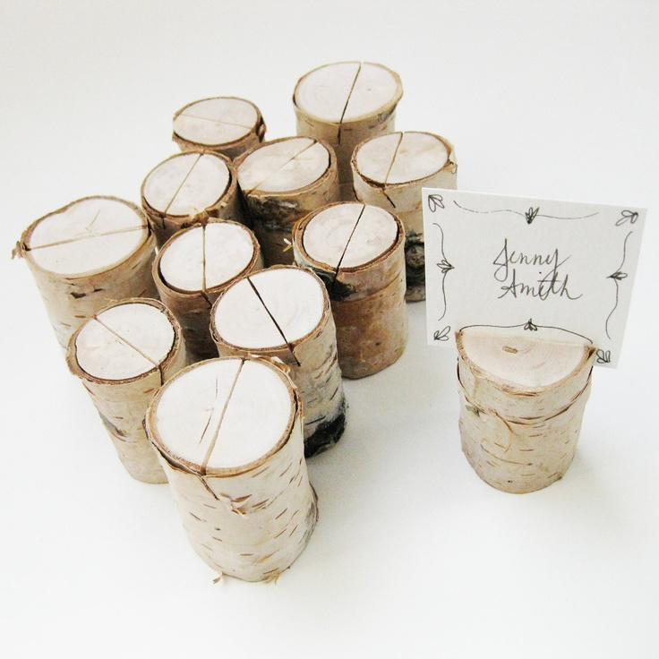 White Birch Branch Place Card Holders hostess gift table setting rustic country nature. $36.00, via Etsy.