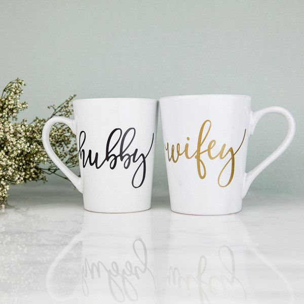 Love our Hubby and Wifey apparel? Then you need our Hubby and Wifey mug set to complete your collection! Sip your favorite tea, coffee or hot cocoa in style with our gold printed Wifey mug and black H                                                                                                                                                                                 More