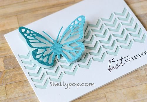 Best Wishes by Shelly Pop - Scrapbook.com- chevron and butterfly card made with die cuts using the Evolution by We R Memory Keepers: