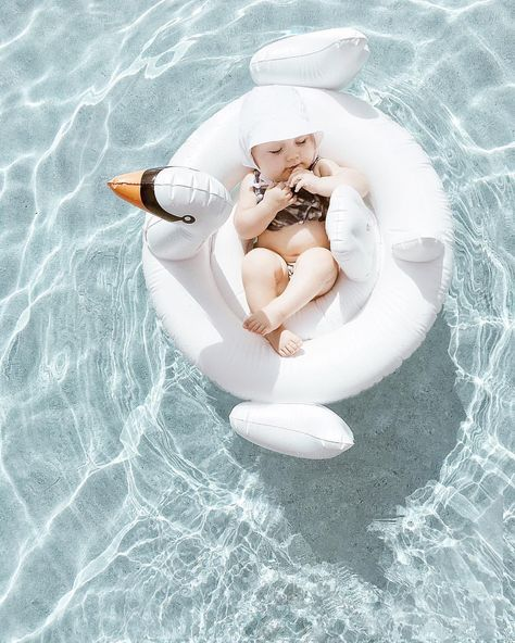 "July 5th, Our Muse of the day just looks happy as a lark floating on the ""Lake of Shining Waters"" (Thank you Anne of Green Gables) in her swan bed.  We love the summer time and all the fun that can be had by moms, dads, and babies alike...but don't forget the sunscreen.  (original post - baby in a swan pool float = too cute)"