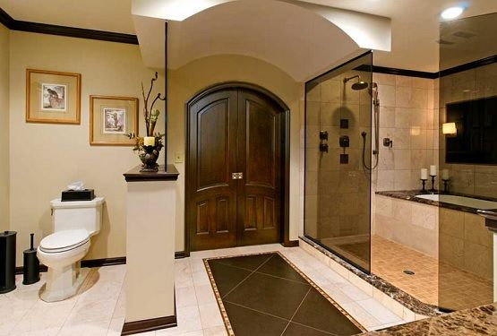 Wooden arched interior doors for bathroom