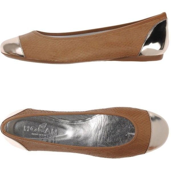 Hogan Ballet Flats ($164) ❤ liked on Polyvore featuring shoes, flats, camel, hogan shoes, animal print shoes, round toe flats, camel flats and leather ballet shoes
