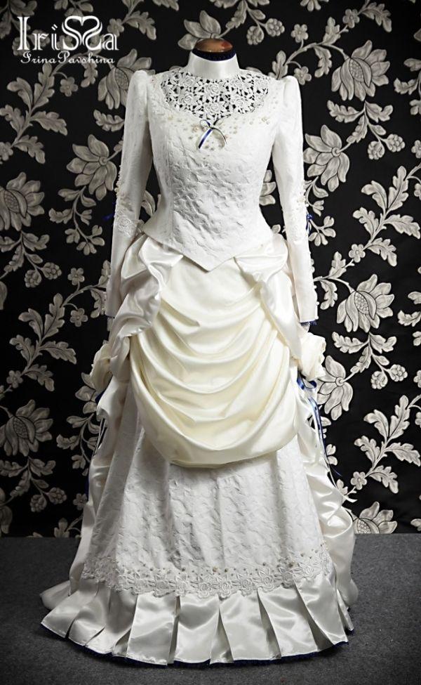 Свадебное платье в викторианском стиле с турнюром. (Фото 5)