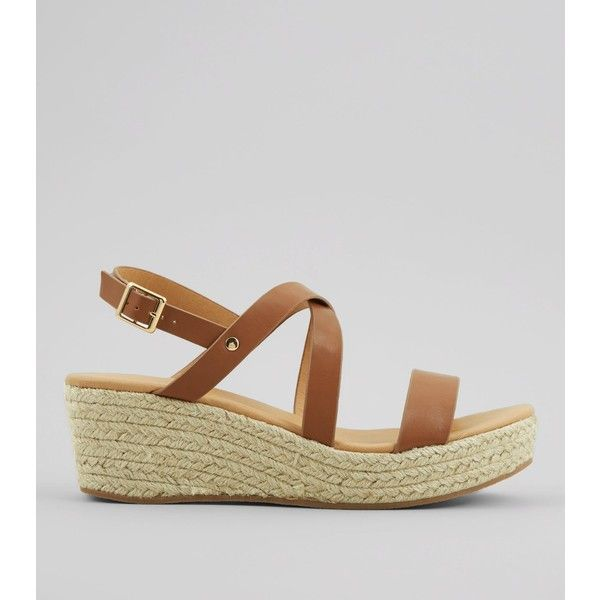 New Look Tan Platform Espadrille Wedge Heels (£26) ❤ liked on Polyvore featuring shoes, sandals, tan, strappy sandals, open toe wedge sandals, strap sandals, tan platform sandals and ankle strap espadrilles