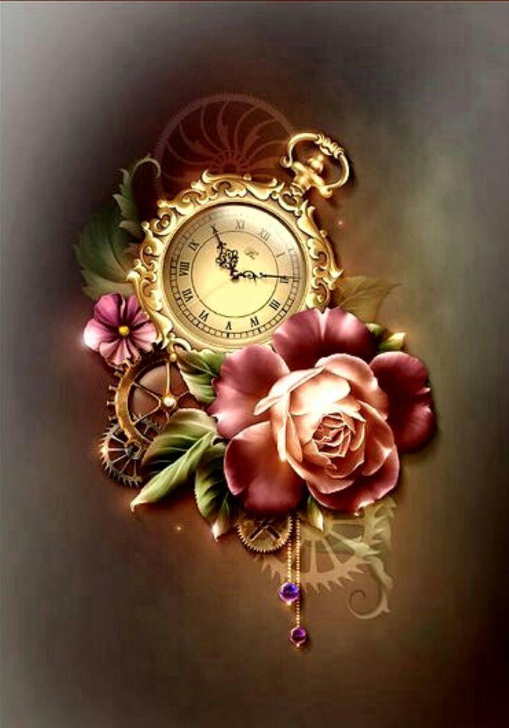 Картинка часы и цветы