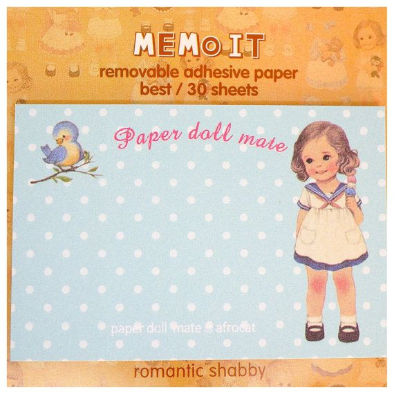 Kawaii PAPER DOLL MATE Korea vintage sticky by MyChildhoodDream