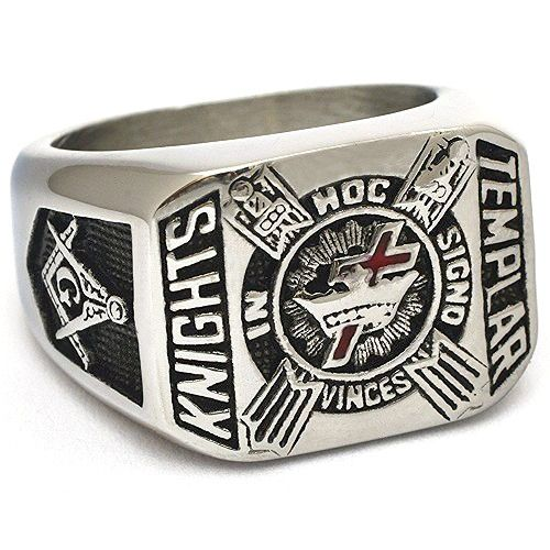 stainless steel Knights of Templar Masonic ring with sword Templar cross and…