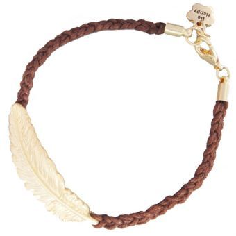 Nioworld Pulsera de la cuerda Mujeres hoja del árbol-marrón