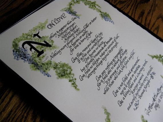 Custom calligraphy hand painted love poem vows in