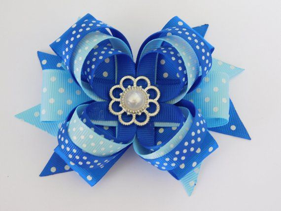 Polka Dots Bows, Blue blue and light Blue bow, School Blue Dress ...