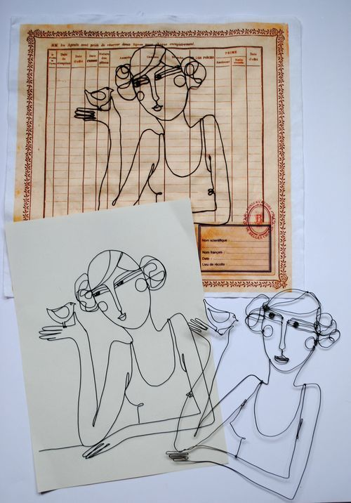 drawing + wire