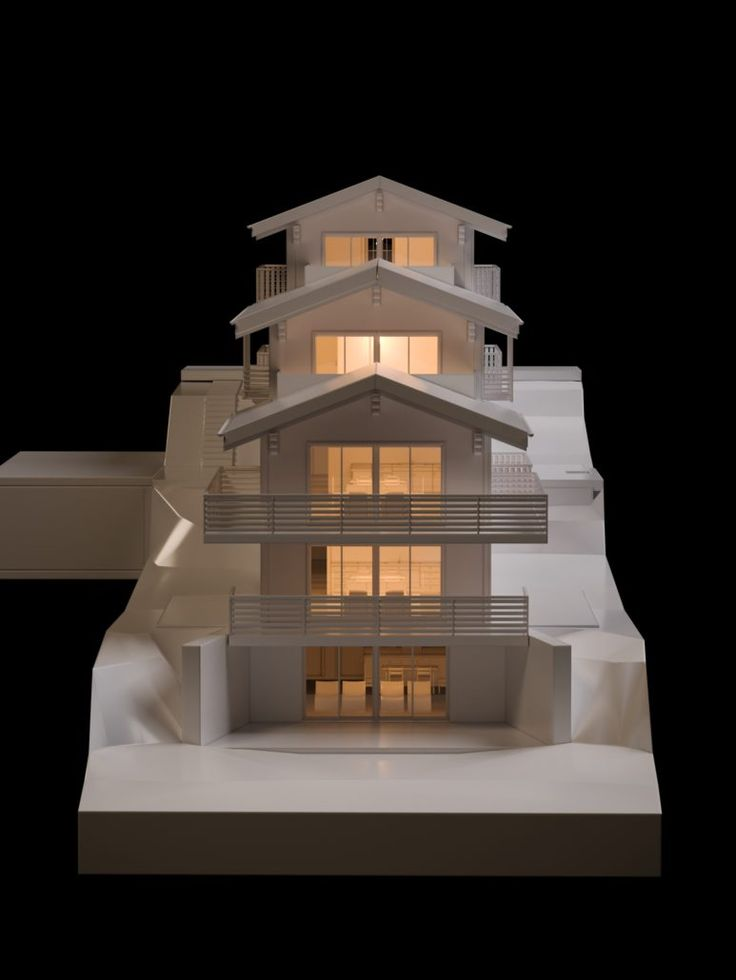 Chalet Bellevue Architecture Verbier Ski Alps 3D Printing Architecture 3D White Model Render Maquettes #architecture #projet #chalet #maquette #noiretblanc
