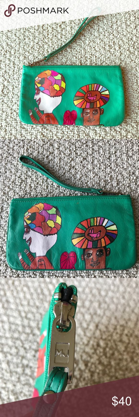 "Marc Jacobs Creative Growth Teal Wristlet Bag So cute and unique! Creative Growth for Marc Jacobs wristlet. Colorful art on a teal leather background. Excellent preworn condition. Rare and made in a collaboration between Creative Growth and Marc Jacobs. Size 8.25"" by 4.75"". No trades, offers welcome. Marc Jacobs Bags Clutches & Wristlets"